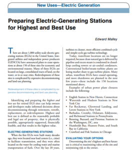 Preparing Electric-Generating Stations for Highest and Best Use