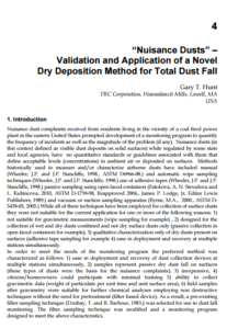 """Nuisance Dusts"" – Validation and Application of a Novel  Dry Deposition Method for Total Dust Fall"