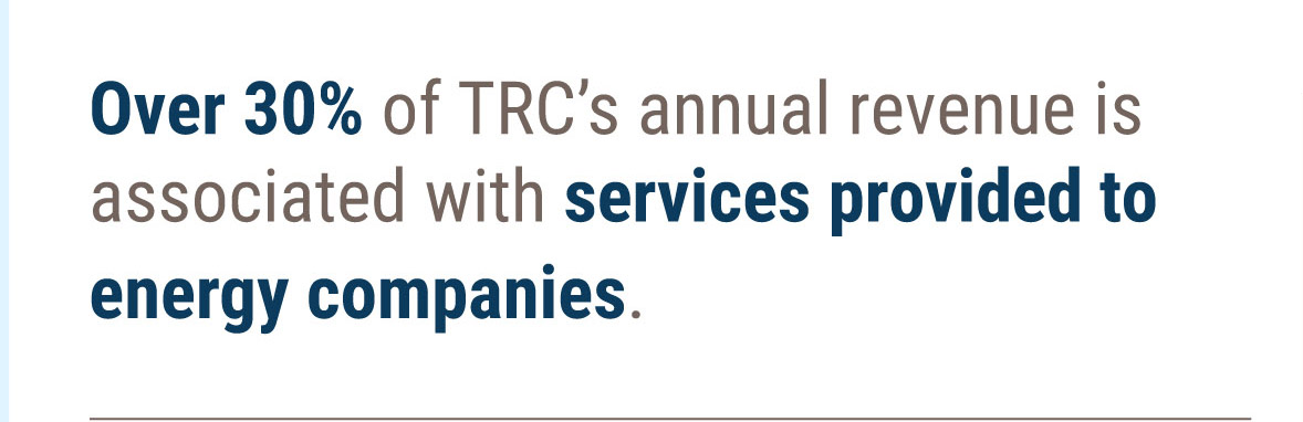 30% of TRC's revenue comes from energy customers