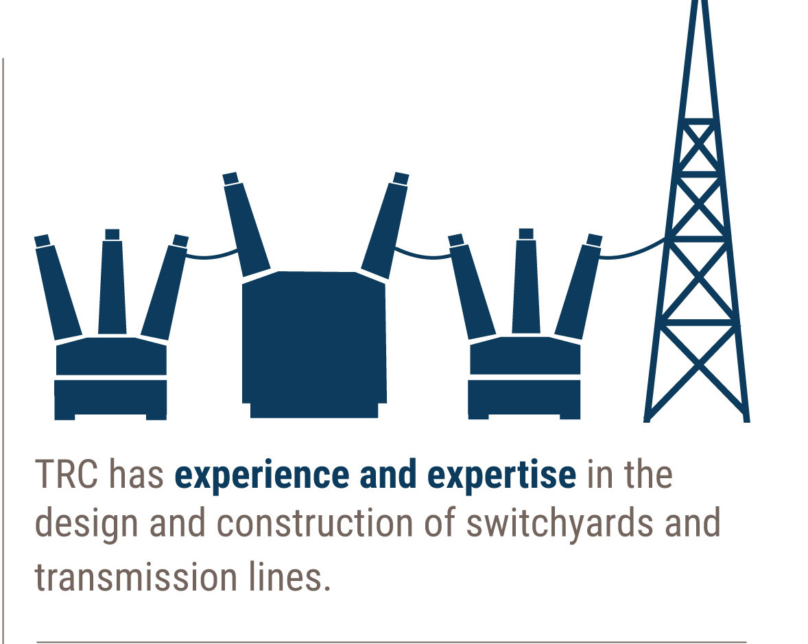TRC has experience and expertise in constructing switchyards and transmission lines