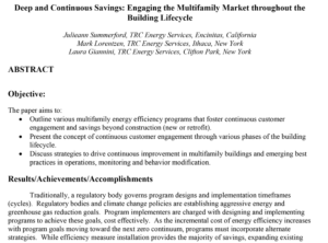 Deep and Continuous Savings: Engaging the Multifamily Market throughout the Building Lifecycle